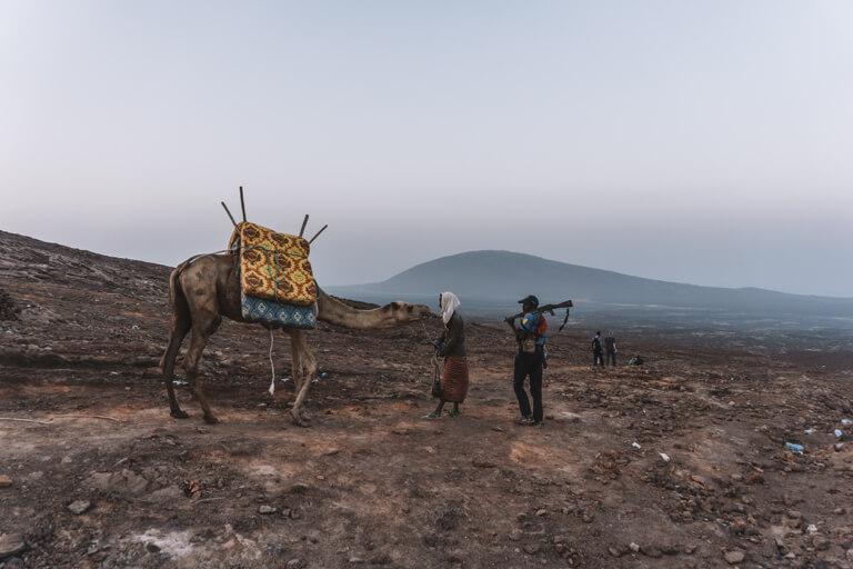 Erta Ale vulkaan Ethiopië Danakil-vallei kameel