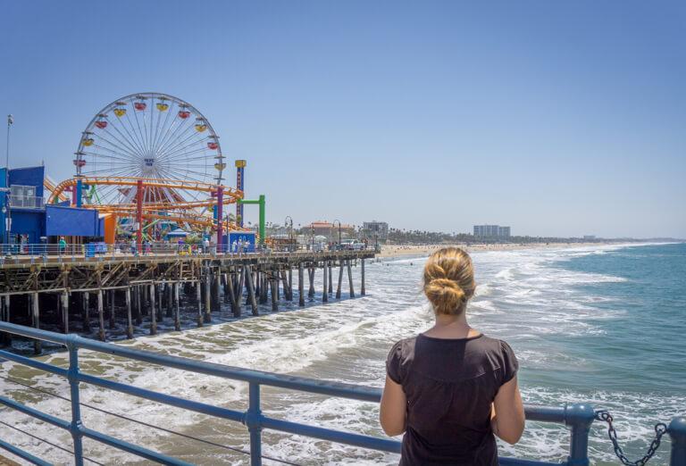 Het reuzenrad van Santa Monica Pier Pacific Park