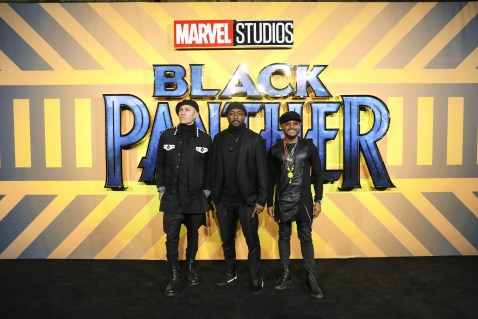 """LONDON, ENGLAND - FEBRUARY 08: Black Eyed Peas attends the European Premiere of Marvel Studios' """"Black Panther"""" at the Eventim Apollo, Hammersmith on February 8, 2018 in London, England. (Photo by Gareth Cattermole/Getty Images for Disney) *** Local Caption *** Black Eyed Peas"""