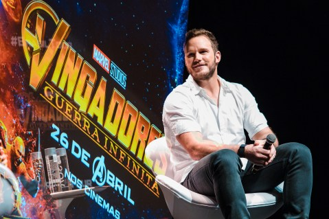 SAO PAULO, BRAZIL – APRIL 4th: (EDITORS NOTE: Multiple exposures were combined in camera to produce this image.) CHRIS PRATT attends the Sao Paulo Fan Event of Avengers: Infinity War at Auditorio do Ibirapuera on April 4th, 2018 in São Paulo, Brazil. (Photo by Mauricio Santana /Getty Images for Marvel Studios) *** Local Caption *** Chris Pratt