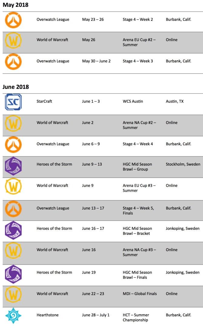 blizzard schedule