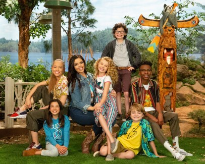 "BUNK'D - Disney Channel's ""BUNK'D"" stars Scarlett Estevez as Gwen, Shelby Simmons as Ava, Miranda May as Lou, Mallory James Mahoney as Destiny, Raphael Alejandro as Matteo, Will Buie Jr. as Finn, and Israel Johnson as Noah. (Disney Channel/Kelsey McNeal)"