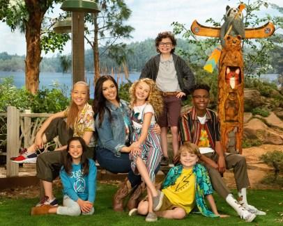 "BUNK'D - Disney Channel's ""BUNK'D"" stars Scarlett Estevez as Gwen, Shelby Simmons as Ava, Miranda May as Lou, Mallory James Mahoney as Destiny, Raphael Alejandro as Matteo, Will Buie Jr. as Finn, and Israel Johnson as Noah. (Disney Channel/Kelsey McNeal)"