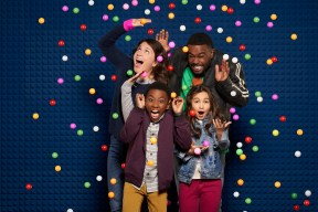 "JUST ROLL WITH IT - Disney Channel's ""Just Roll With It"" stars Suzi Barrett as Rachel, Ramon Reed as Owen, Kaylin Hayman as Blair, and Tobie Windham as Byron. (Disney Channel/Ed Herrera)"