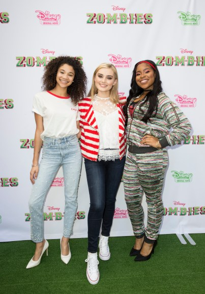 "ZOMBIES - Stars of the Disney Channel Original Movie ""ZOMBIES"" attend a screening event with kids and families on Saturday, February 3. The music- and dance-filled story ""ZOMBIES"" premieres on Friday, February 16 at 8:00 p.m. (ET/PT) on Disney Channel. (Disney Channel/Image Group LA) KYLEE RUSSELL, MEG DONNELLY, CARLA JEFFERY"