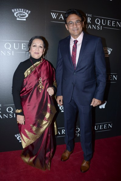 "NEW YORK, NY - NOVEMBER 13: Swati Bhise and Ajinkya Deo attend The Wing Hosts The World Premiere Of Roadside Attractions' ""The Warrior Queen Of Jhansi"" at Metrograph on November 13, 2019 in New York. (Photo by Paul Bruinooge/PMC) *** Local Caption *** Swati Bhise;Ajinkya Deo"