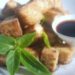 tofu with five spices, coconut sugar & baby basil