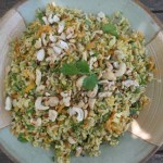 lemon rice with sprouted mung beans & grated carrot