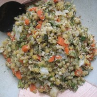 yellow lentils, mung beans, cabbage, carrot & fresh dill palya