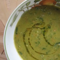 green split pea & carrot soup