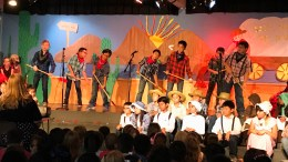 Golden Elementary students performing a gold rush show.