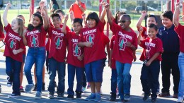Rio Vista students participating in College Friday Flag Salute.