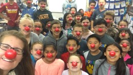 Lakeview elementary students wearing red noses.