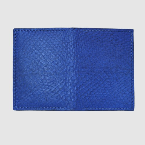 Blue salmon bifold fishleather card wallet front