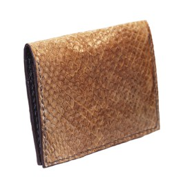 Brown salmon bifold fishleather card wallet