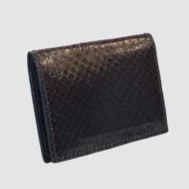 Black salmon bifold fishleather card wallet side wiew