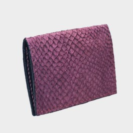 Bordeaux salmon bifold fish leather card wallet