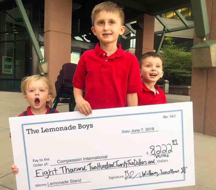The best lemonade recipe; boys giving to charity from proceeds of their lemonade stand