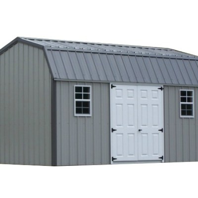 All metal shed with high barn style roof. Shed has a set of double fiberglass doors and two windows