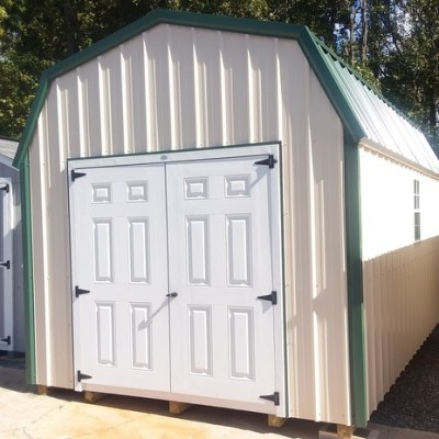 10 x 16 Metal High Barn (MO# 547) Ivory Metal Siding, White Trim, Hunter Metal Roof, Corners and J Channel. L P Pro Struct Flooring, 6' Double Doors. $3,807.11