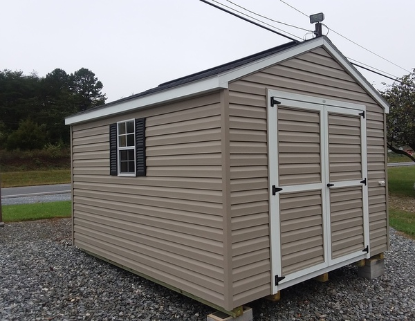 10 x 12 vinyl a roof mo 556 clay siding white trim black shingles and shutters 10 ridgevent lp pro struct flooring and 6 double door up grade - Garden Sheds Vinyl