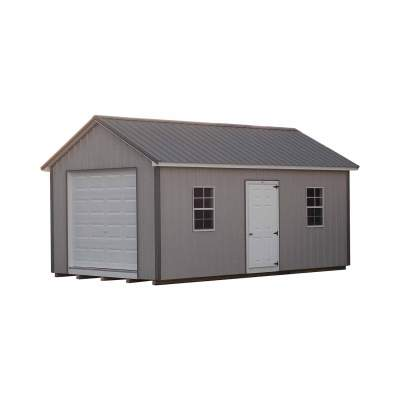 All metal shed with classic style roof. Shed has a single fiberglass door, two windows and a garage door