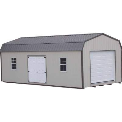 An all metal shed with a 6 foot wide set of double fiberglass doors and a 9x6 solid, white garage door. Shed has two windows and a high barn style roof
