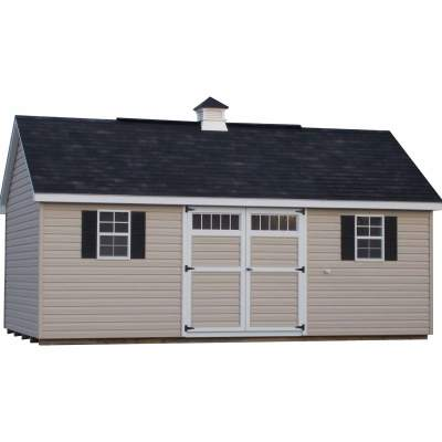 A vinyl shed with a garden style, black shingle roof. Shed has 6 foot wide double doors and two windows with shutters. The shed is dispayed with optional cupola