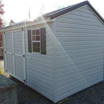 8 x 12 Vinyl A-Roof (MO# 527) Gray Siding, White Trim, Black Metal Roof, Black Shutters, 6' Double Door Up-grade. $2,545.00