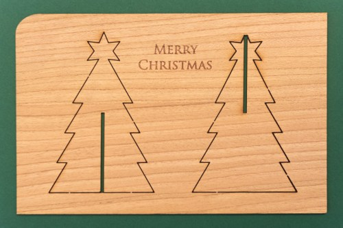 Holz Karte Merry Christmas Front