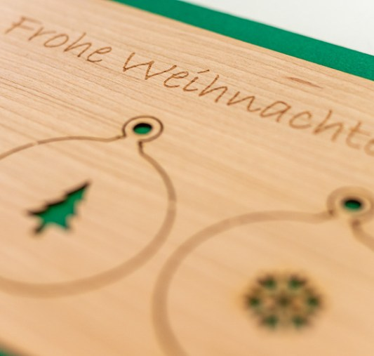 Holzkarte Frohe Weihnachten