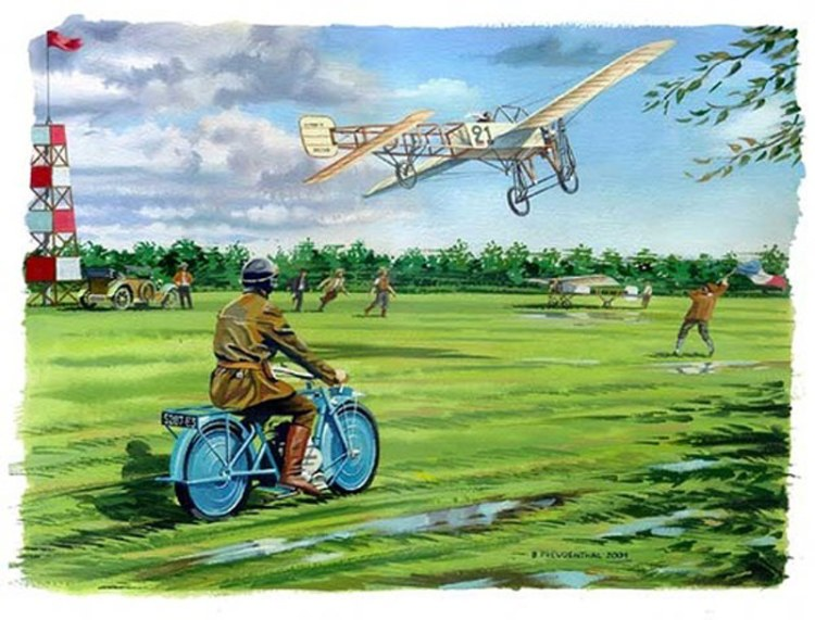 Bleriot Motorcycle and Airplane