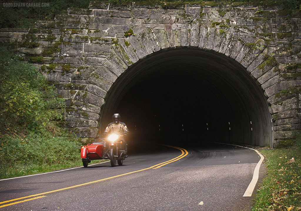Wilkinson Bros Ural Sidecar through Blue Ridge Parkway Tunnel