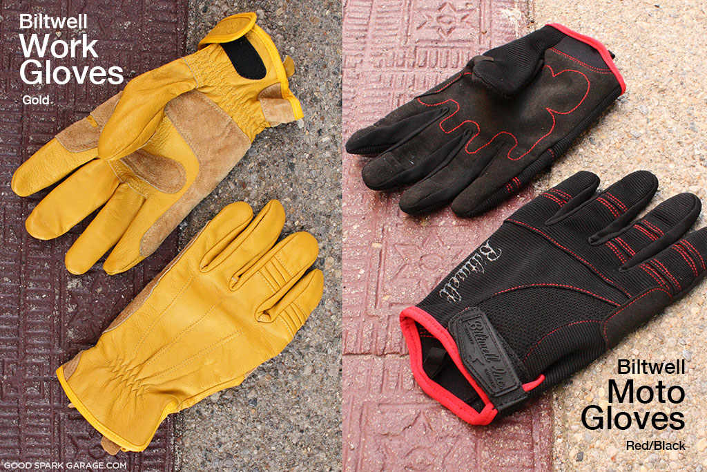 Gold Work Glove and Black/Red Moto Glove