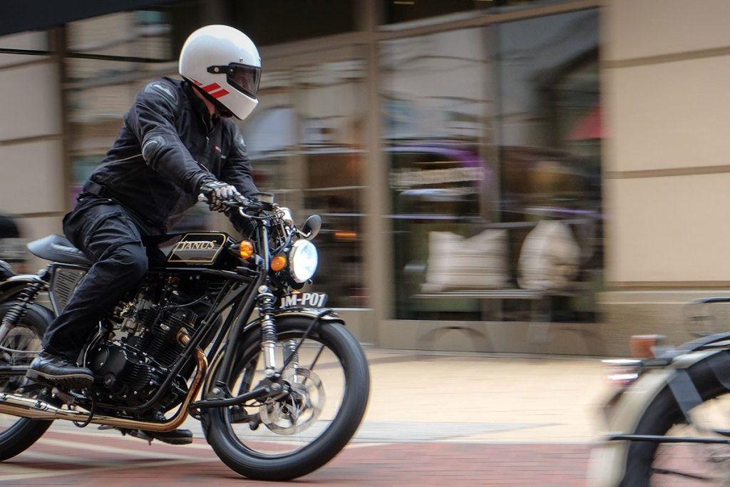 Cruising through City Center on Janus Motorcycles