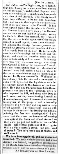 """Letter to the Hunterdon Gazette from """"An Inhabitant of Old Amwell,"""" March 14, 1838"""