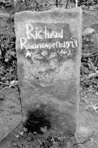 """Gravestone of Richard Rounsavell, Jr. Inscription reads, """"Richard Rounsavell, 1777, Ag'd 43."""" This is the oldest stone in the Sutton Burying Ground. Photo courtesy of Brian E. Rounsavill of Newtown, Pennsylvania"""
