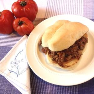 garden-style sloppy joe sandwich on a plate
