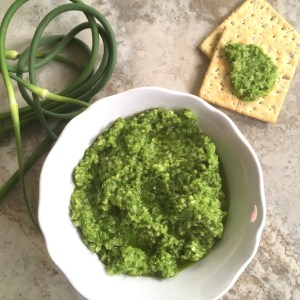 green garlic scape pesto in a bowl with crackers nearby
