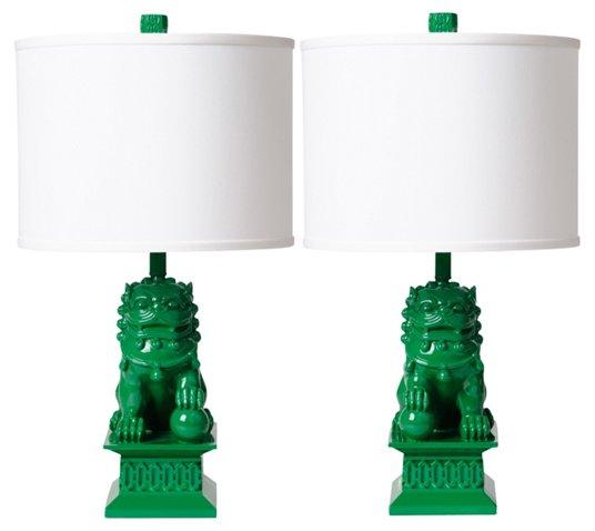 Green foo dog lamps