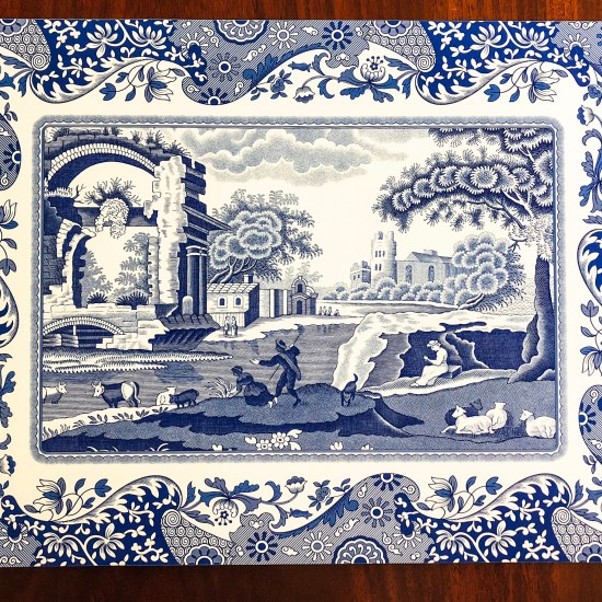 Blue and white placemat