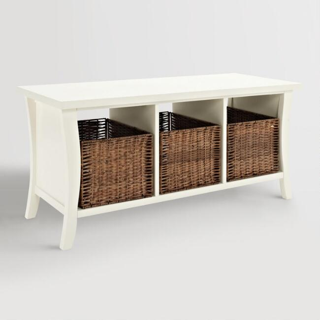 white storage bench with drawers