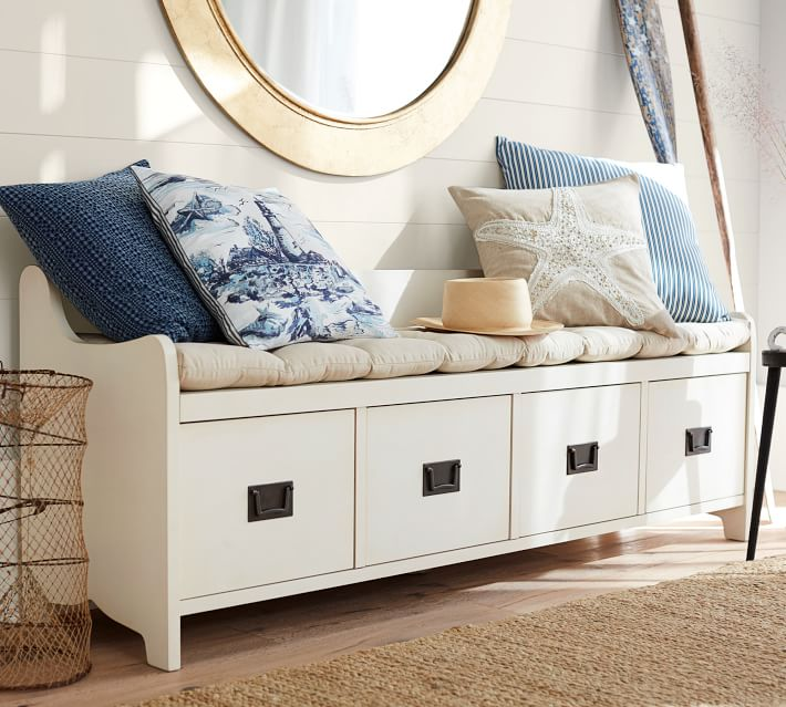white storage bench with shelves from pottery barn