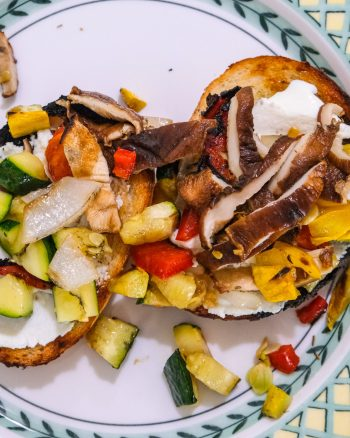 Grilled veggie and ricotta toast