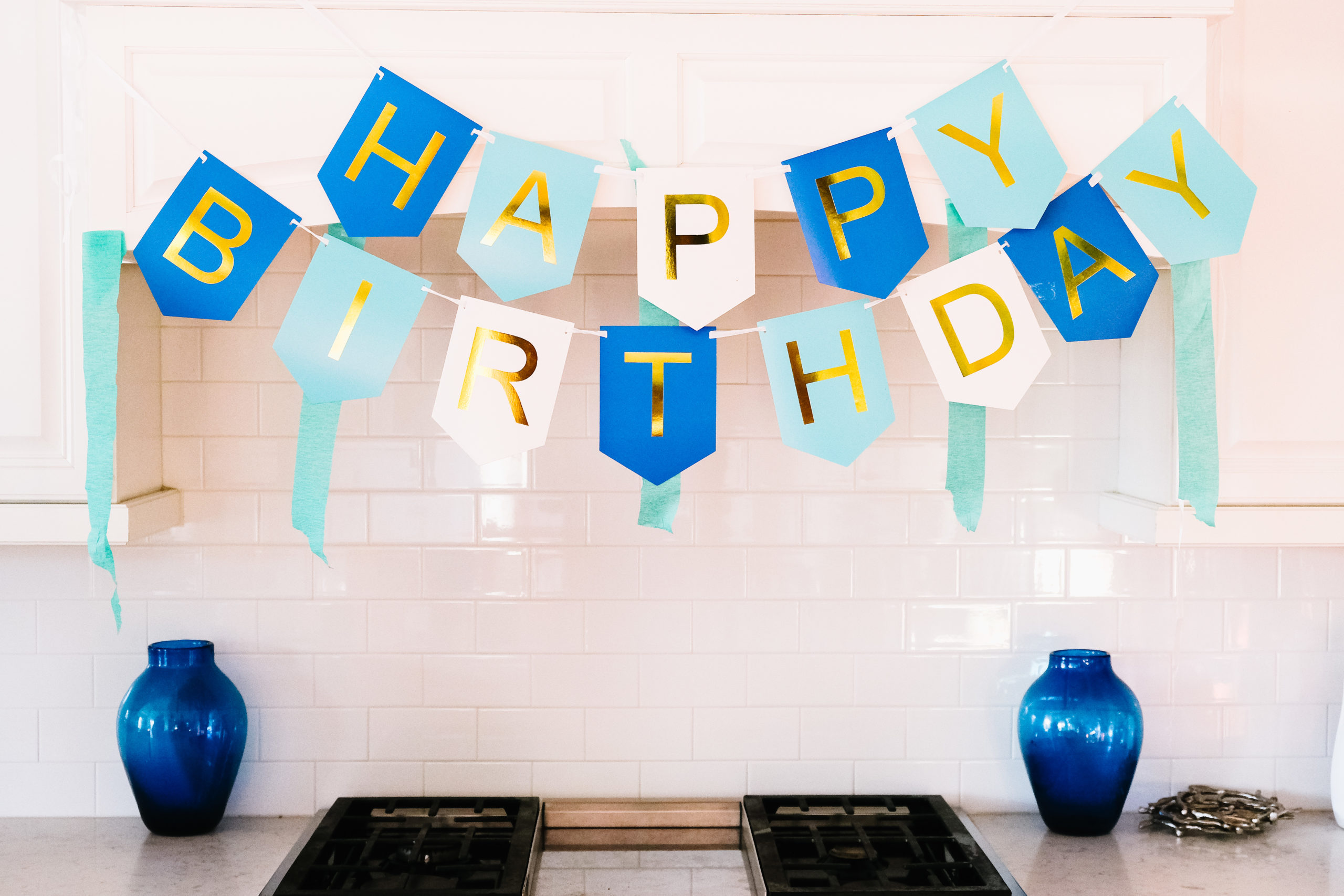 Blue and gold birthday party decorations