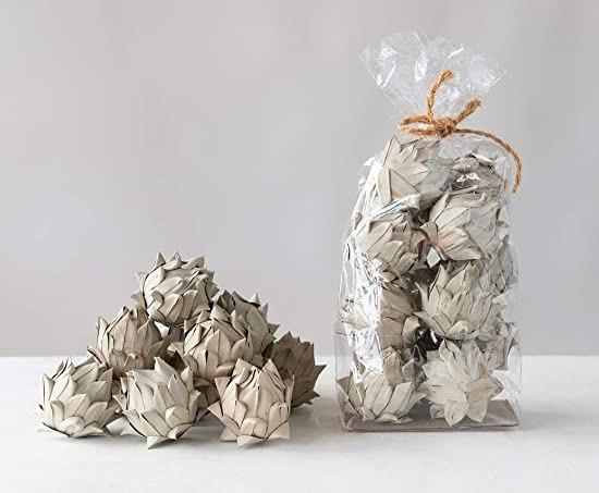 Decorative dried white artichokes