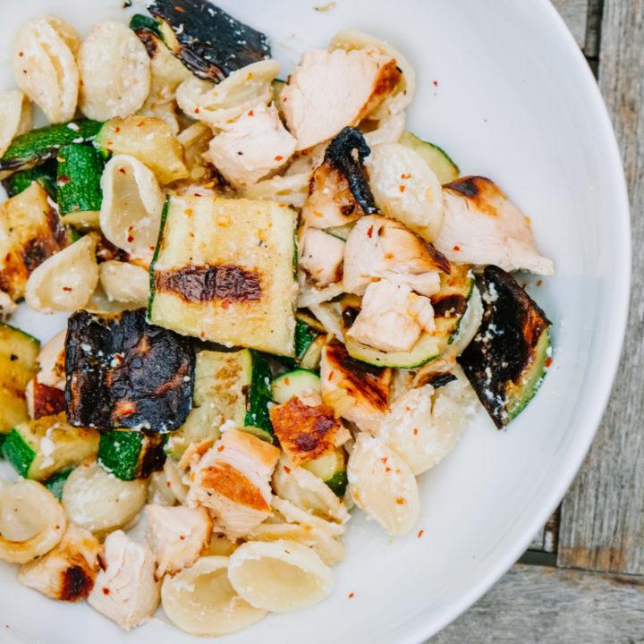 Recipe for grilled zucchini with chicken and orecchiette
