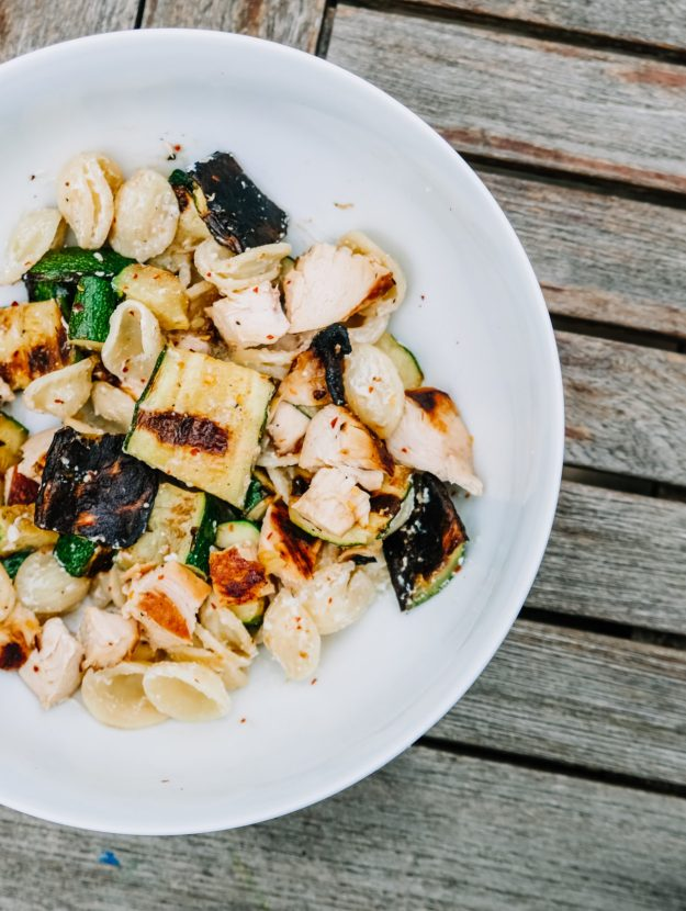 An easy recipe for grilled zucchini with chicken and orecchiette