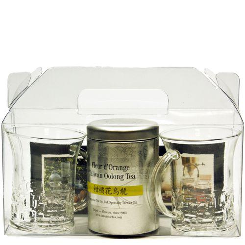 Подарочный набор из двух стеклянных кружек и баночки чая