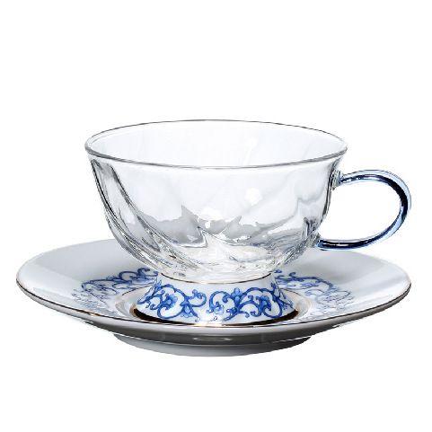 Низкие фьюжн чашки с блюдцами с синим орнаментом, 2 штуки